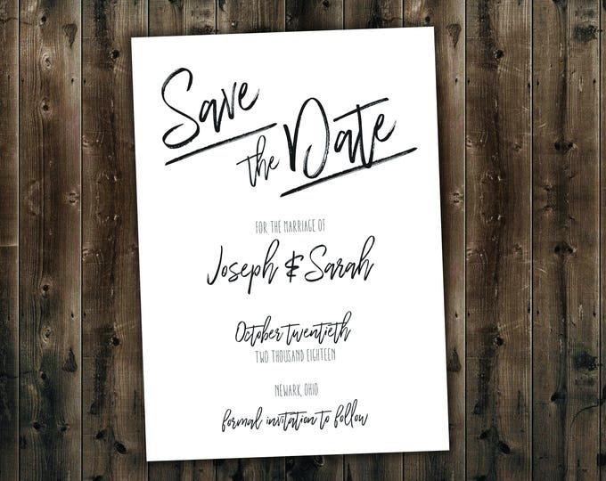Simple Black and White Wedding Save the Date Set Printed, Always and Forever, Wedding Invitation Suite, Elegant, Formal, Classy, Classic,