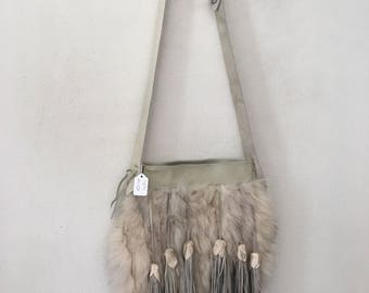 Crossbody women's bag, from real polar fox fur and leather, decorated with leather fringe bubo, vintage handbag, white color, size-medium