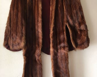 Women's chic bolero fur bolero from real marmot fur soft fur fluted design festive look vintage style retro brown bolero has size-universal.
