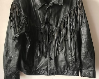 Country Style Motorcycle Mid Length Vintage Black Soft Genuine Leather Jacket Fringed Lightweight Men's Size Large.