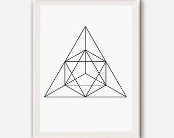 Geometric print, Triangle art, Exagon decor, Geometric poster, Triangle Wall print, black and white, Abstract art, Modern print, minimal Art