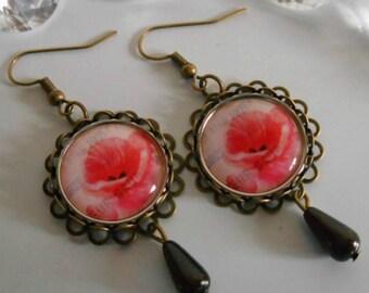 "Bronze stamped earrings ""Poetic poppy"""