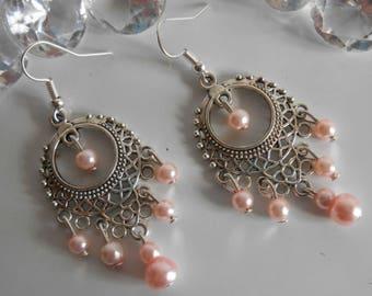 Gypsy dangle earrings pink pearl beads