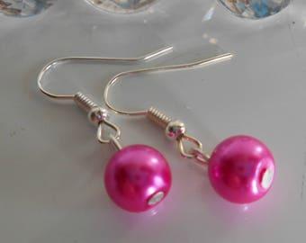 Wedding earrings Fuchsia beads