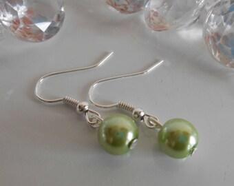 Wedding earrings lime green beads
