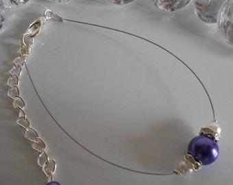 Wedding bracelet purple and white pearls and rhinestones