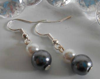 Duo of white and charcoal gray pearls wedding earrings