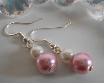 Wedding white and old pink pearls duo earrings