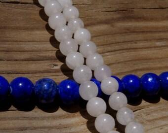 10 white quartz pearls white 6mm drilled 1 mm