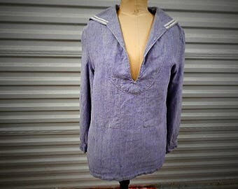 French Navy Vintage Blue Linen Sailor Jacket (C732)