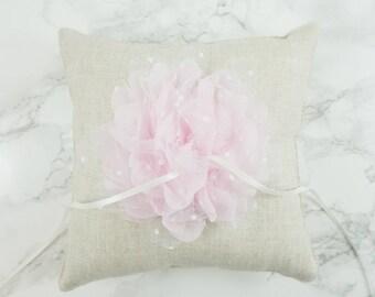 Wedding Ring Pillow / Ring Bearer Pillow / Linen Ring Pillow with Lt. Pink Chiffon Flower / Rustic Ring Pillow / Linen Ring Bearer Pillow