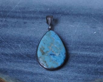 Turquoise Silver Pendant - Sterling Silver Pendant -Blue, Turquoise, Unique jewelry, Vintage Style, Men, Women, Tribal.
