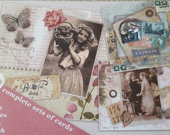 Block of 12 scrapbooking cards without scissors vintage theme