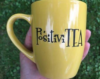 Choose Positivity Mug - Tea Time - Etched Ceramic Mug - Morning Time - Positive Mug - Gift Ideas - Gifts for Her - Tea Cup
