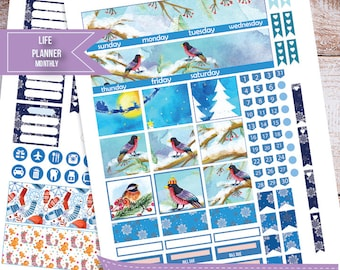 Winter, birds, Snow Monthly Planner stickers for use with Erin Condren LifePlanner, Planner Stickers Instant Download, Filofax, Plum Paper