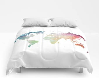 World Map Duvet Cover, Full Queen King Duvet, Painted Map Travel Lover Comforter, Globe Bed Cover, Rainbow Duvet Cover, Wanderlust Bedding