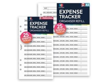 PRINTED Expense tracker Insert A5 / Personal Filofax A5 Kikki.K Large Compatible Refill Coloured