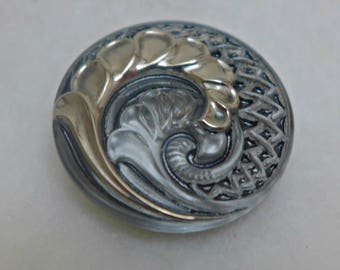 Czech glass button - grey, silver - 27mm