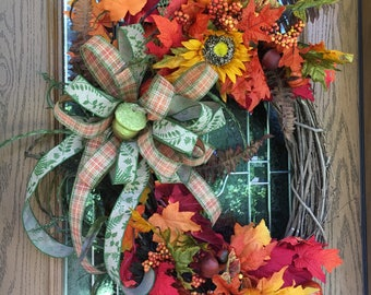 Fall Grapevine Wreath, Fall Floral Grapevine, Fall Wreath, Fall Grapevine, Fall Front Door, Wreath, Grapevine Wreath, Fall, Autumn