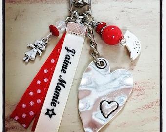 """Grigri Lili Keychain, bag charm and my * Creations """"I love Grandma"""""""