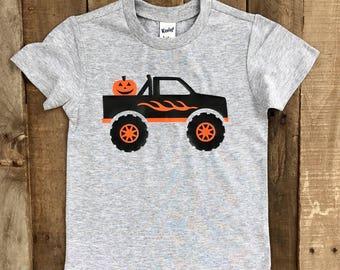 Monster Truck Halloween Shirt - Monster Truck Shirt - Boys Halloween Shirt - Boys Pumpkin Shirt