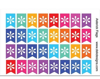 40% Off Sale Asterisk Flag Planner Stickers