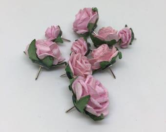 Light Pink Rose Push Pins, Thumb Tacks, Decorative Push pins, Pin Board, desk accessories, cubicle decor, drawing pin, bulletin board,