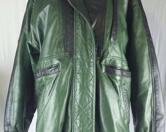 Vintage Womens Leather Jacket Coat Green Black 1980s-1990s Color Block Pockets
