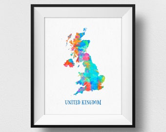 United Kingdom Map, UK Map Print, England Map, Watercolour Map Of UK Print, England Home Decor, Great Britain Poster (708)