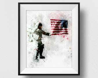 NASA Poster, NASA Astronaut And US Print, Kids Room Astronaut Wall Art, Nasa Decor, Watercolour Space Art, Nursery Decorations (N314)