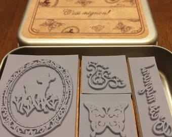 C'est mignon Rubber Stamp Set of 4 in Tin Case