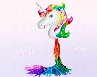 Rainbow UNICORN Balloon | HUGE Unicorn Balloon | Unicorn Party Theme | Unicorn Balloon Decoration | Balloon Tassel Tail