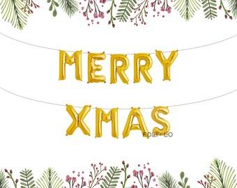 Merry XMas Balloons | Christmas Letter Balloons | Merry Christmas Decoration | Christmas Party Decoration | Gold Christmas Balloons