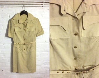1960s vintage khaki beige safari dress - UK 8 EU 36 US 6 - Mod Yeye Psych