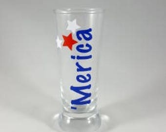 Merica Shot Glass, fourth of July, celebrate America's Birthday, Independence Day gift, for friend or family, cool shot glasses