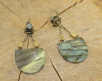 Tribal earrings, labradorite, brass
