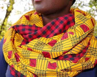 African Print and Plaid Infinity Scarf // Red and Yellow Scarf // Red and Black Buffalo Plaid // African Wax Print Scarf