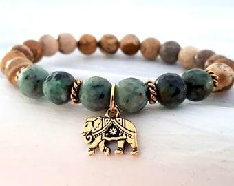 Elephant Bracelet, African Turquoise, Picture Jasper, Ganesha Bracelet, Elephant Mala, Energy Bracelet, Yoga Bracelet, Elephant Jewelry