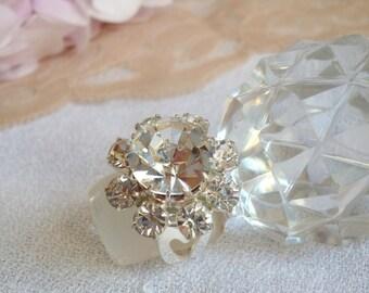 Princess Crystal and silver plated ring