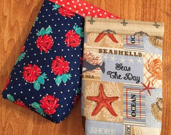 Ocean/Sea OR Vintage Rose Polka Dot Sunglasses Snappy Pouch