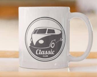Classic Volkswagen Camper Van print, VW Camper print Coffee/Tea Mug, Classic Volkswagen Van,VW Camper Van, Classic Surfers Van, VW Classic.