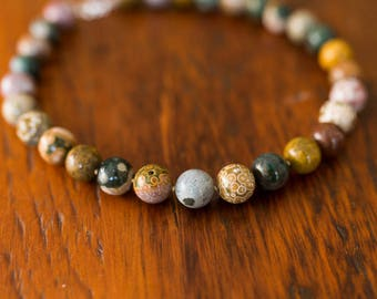15mm Ocean Jasper Knotted Necklace
