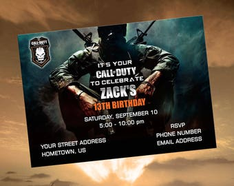 Black OPS - Printable Digital Personalized Birthday Party Invitations