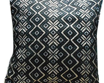 Cotton Decorative Cushion Cover Indian Designer Embroidered Black Pillow Cover Antique Art Throw Decor Cushion Cover Gift 15 X15