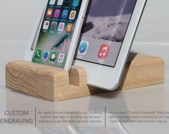 iPhone docking, iPad docking, wooden docking station, charging station, wood dock, docking station, mobile phone stand, smartphone station