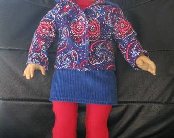 "Corduroy skirt and jacket with stretchy leggings and long sleeved top for 18"" doll"