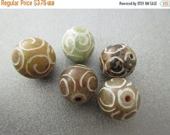 ON SALE 15% OFF Carved Jade Round 16mm Beads 5pcs