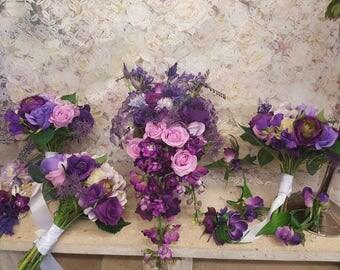 Purple & Pink Bridal Bouquet set latex silks