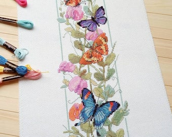 """Finished Cross Stitch Picture """"Flowers and Butterflies"""". Completed Cross Stitch. Hand Embroidery. Home Decor. Wall decor READY TO SHIP"""