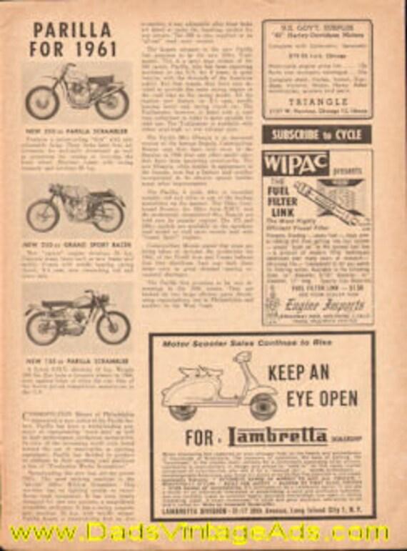 1961 Parilla Motorcycles 1-Page Article #e61da04